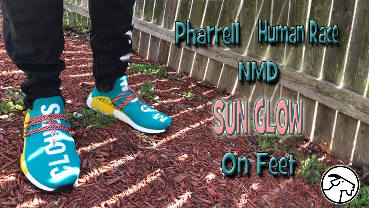 e8add98305113 Pharrell Sun Glow Human Race On Feet - YouTube