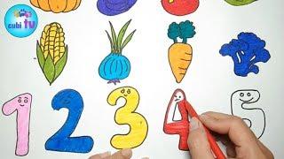 BÉ NA TÔ MÀU RAU CỦ QUẢ 🍎 COLORING VEGETABLES, FRUIT 🍎 CUBI TV