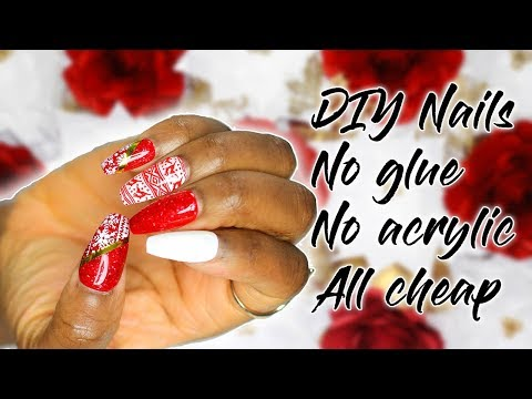DIY Fake Nails No Acrylic No Glue Christmas Inspo