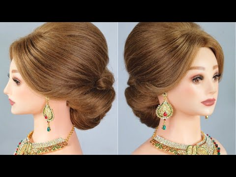 Bridal Hairstyle, Indian Bridal Updo, Indian Wedding Hairstyle, Wedding Hair Updo Tutorial