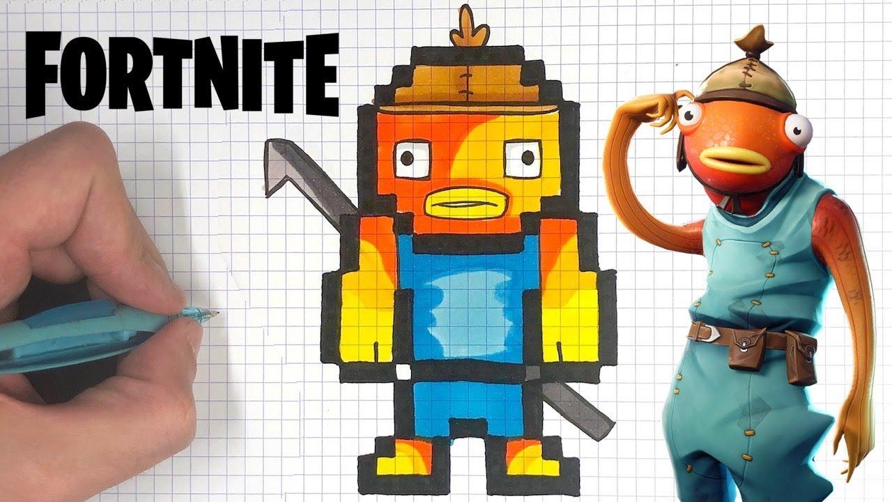 Como Dibujar Pescado Skin Fortnite Pixel Art