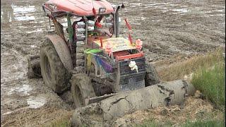 Power Tractor Pushing Dirt Skills-Tractor M6040 push land - Tractor Pushing Mud ត្រាក់ទ័ររុញដីស្រែ