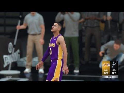 NBA 2K18 LAL vs SA Kuzma on fire AGG double 20