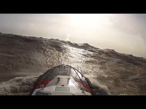Hurricane winds Ireland Febuary 2014 from aboard Safehaven Marines Interceptor 48 Pilot boat