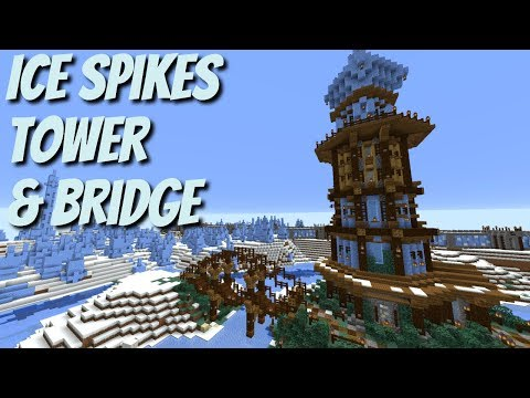 Minecraft Survival: How To Build A Tower In Minecraft Ice Spikes Biomes (QuarryCraft With Avomance)
