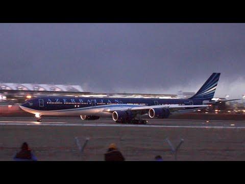 Azerbaijan Government Airbus A340-642 4K-AI08 arrival at Munich Airport SIKO 2020