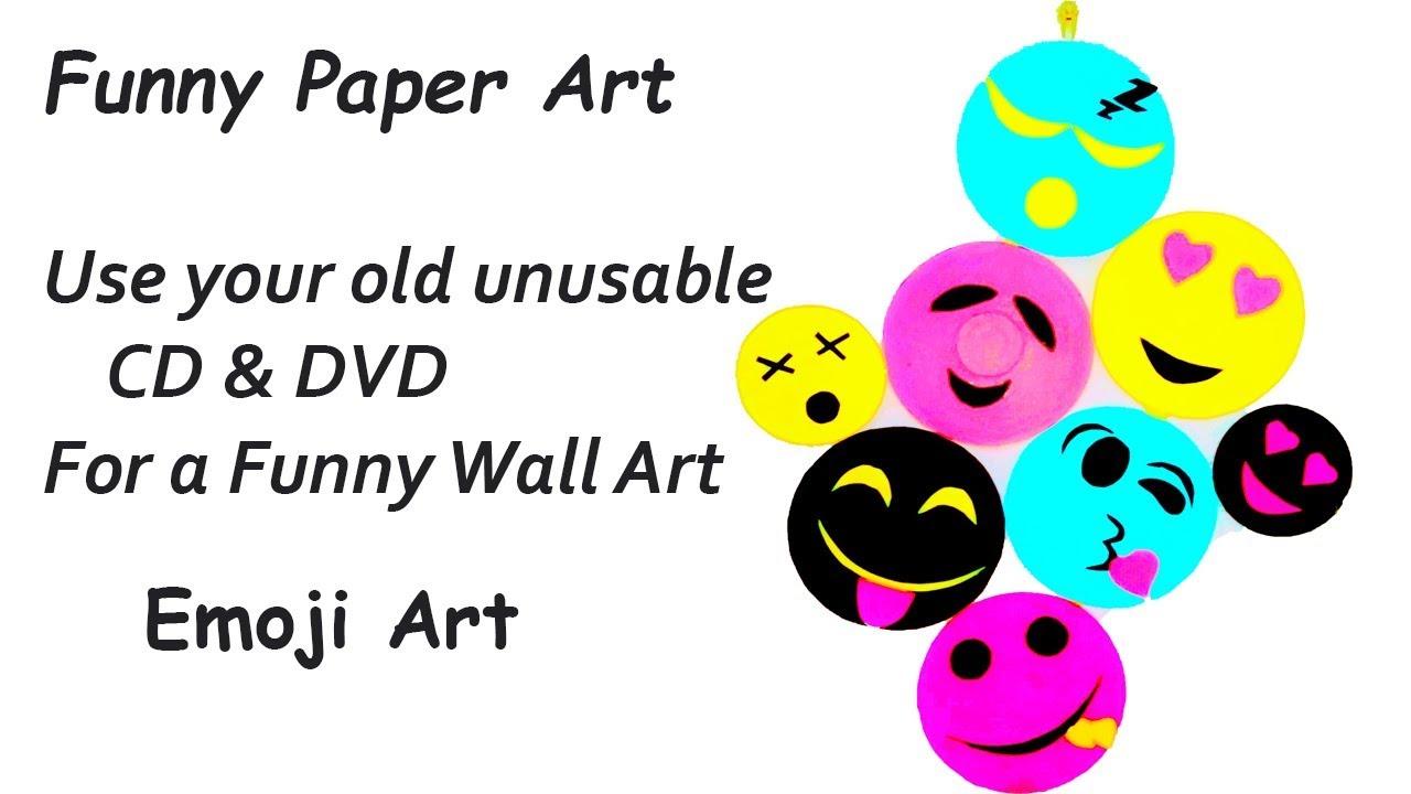 DIY - Smiley Room Decor from CD DVD |smiley emoji home decoration | recycle  CD | cute emoji smileys