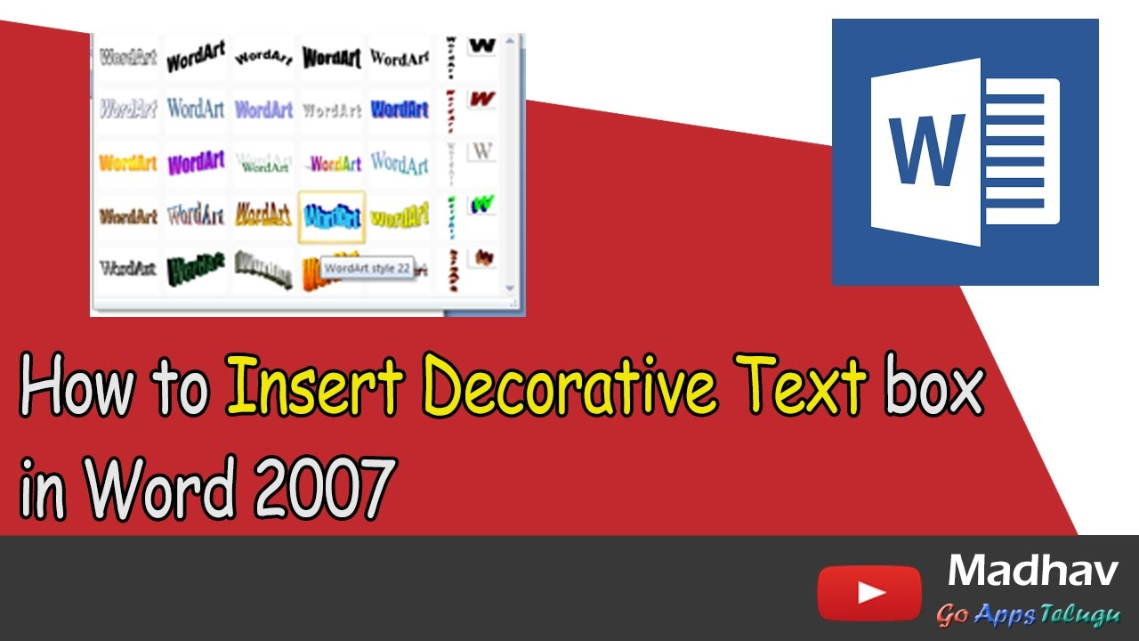 How To Insert Decorative Text Box In Word 2007