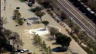 LIVE: Massive water main break floods 610 East Loop