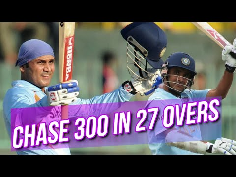 India won while chasing a target of 300 in just 27 overs against West Indies | Sehwag & Ganguly