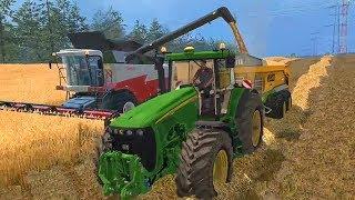 Мультфильм про уборку зерна и соломы на поле. Комбайны и трактора.