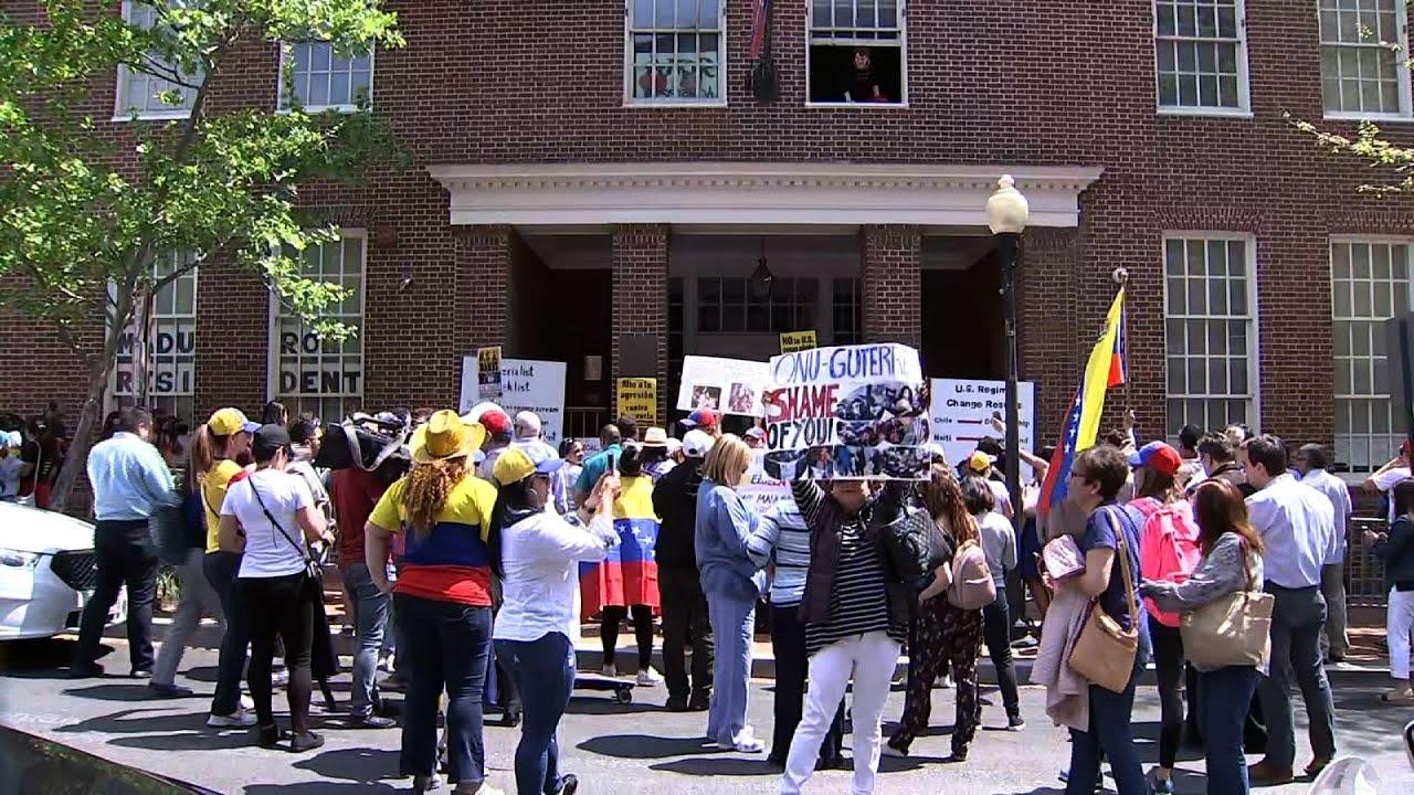Opposing protesters at Venezuelan Embassy in DC