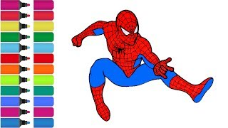 Spiderman Rainbow - coloring Page! Fun Coloring Activity for Kids Toddlers HD
