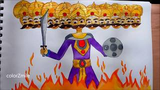 How to DRAW RAAVAN FOR DUSSEHRA| How to DRAW DUSSEHRA GREETING CARD