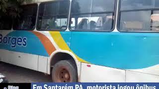 Motorista de ônibus derruba muro para não atropelar pedestres, em Santarém