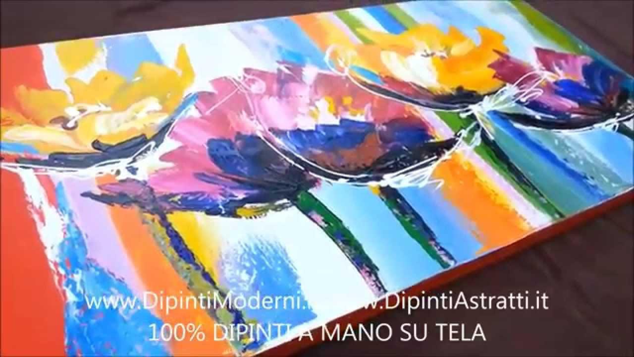 QUADRO MODERNO DIPINTO A MANO CON FIORI ASTRATTI - YouTube