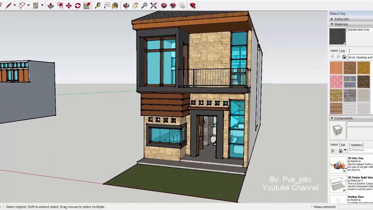Desain Rumah Modern Lebar 5 x 20 Meter 2 lantai plus taman ...