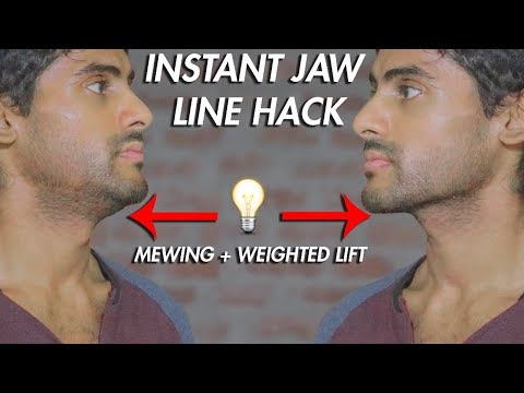JAWLINE HACK! MEWING V2 + WEIGHTED EXERCISE FOR A CHISELED JAW