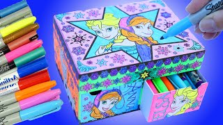 FROZEN ELSA LIGHT UP How to Color Kids Art Flashing Lights 5 Sided Princess Anna Sisters Draw Box