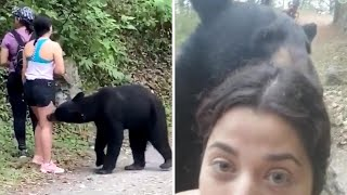 video: Watch: Woman takes selfie with bear on hiking trail in Mexico