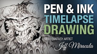 time lapse ink drawing of monster on playmat by fantasy artist jeff miracola