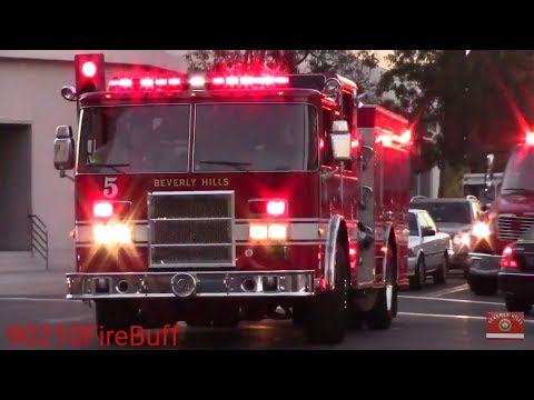 Beverly Hills Fire Dept. Engine 5 & Rescue 1 Responding