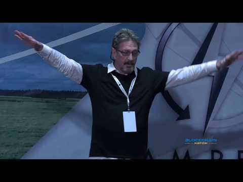 John McAfee at Blockchain Nation Miami 2018 bcnation.com