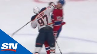 Connor McDavid Hits Jesperi Kotkaniemi With High Elbow At Centre Ice