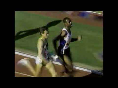 Johnny Gray runs 1500m in 3:42.43 - 1990 Modesto Meet (includes post-race interviews)