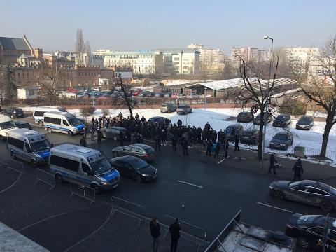 Ajax riot next to the Legia Warsaw stadium