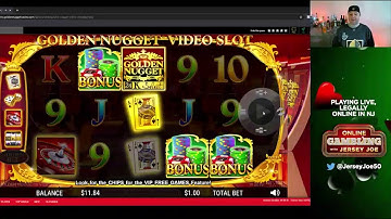 Golden Nugget Video Slots with BIG BONUS WIN LIVE [Online Gambling with Jersey Joe # 90]