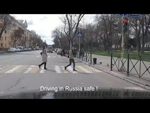 Driving in the centre of Astrakhan city, Russia.