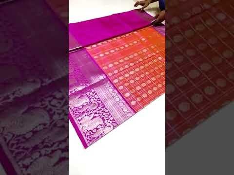 Orange checks bridal pattu saree|Pink pallu|gold lining|Venkatagiri