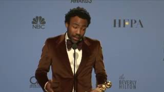 Donald Glover   Golden Globes 2017   Full Backstage Speech   YouTube