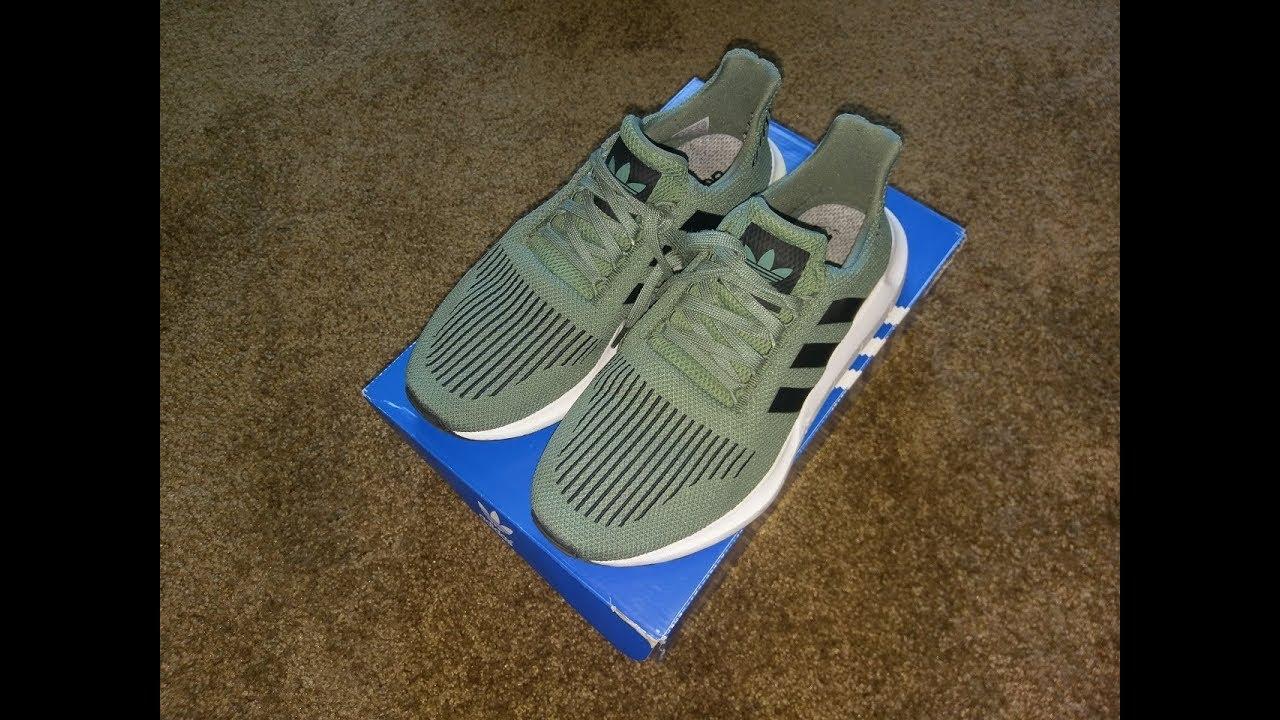 32e81cadd30 Adidas Swift Run Shoes Cargo/Black/White Unboxing / On Feet