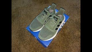 17e368070bd71 Adidas Swift Run Shoes Cargo Black White Unboxing   On Feet ...