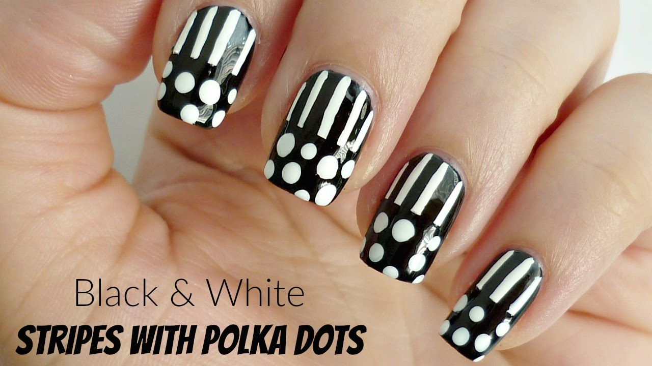 Black And White Stripes With Polka Dots Nail Art Youtube