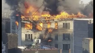 Flames Shoot from Manhattan Apartment Building