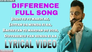 DIFFERENCE ( LYRICS ) || AMRIT MAAN || LYRICAL VIDEO