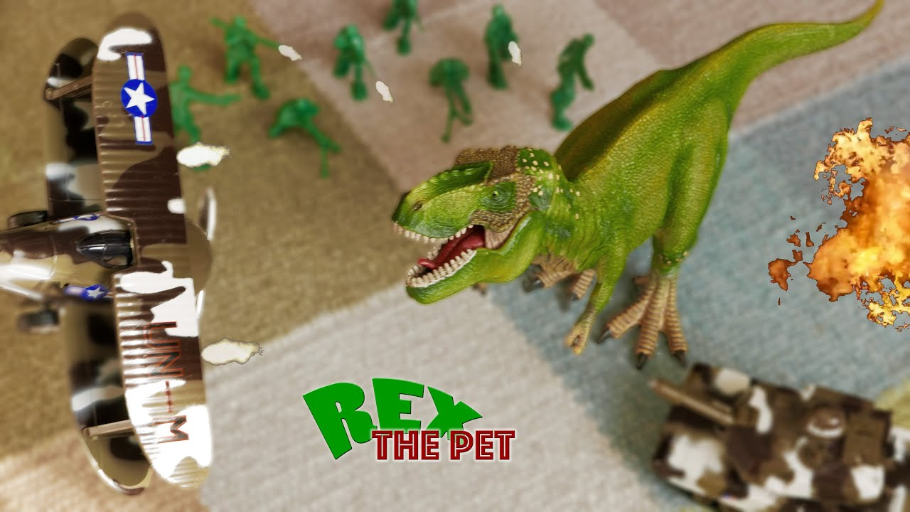 T Rex vs Army Toys Pet dinosaur fights army toys in a dinosaur