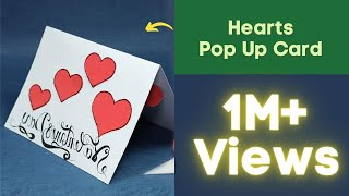 Repeat youtube video Pop Up Valentine Card - Hearts Pop Up Card Step by Step
