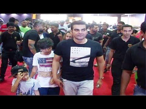 Salman Khan's brother Arbaaz Khan with his son at BIG BOYS TOYS EXPO 2015.