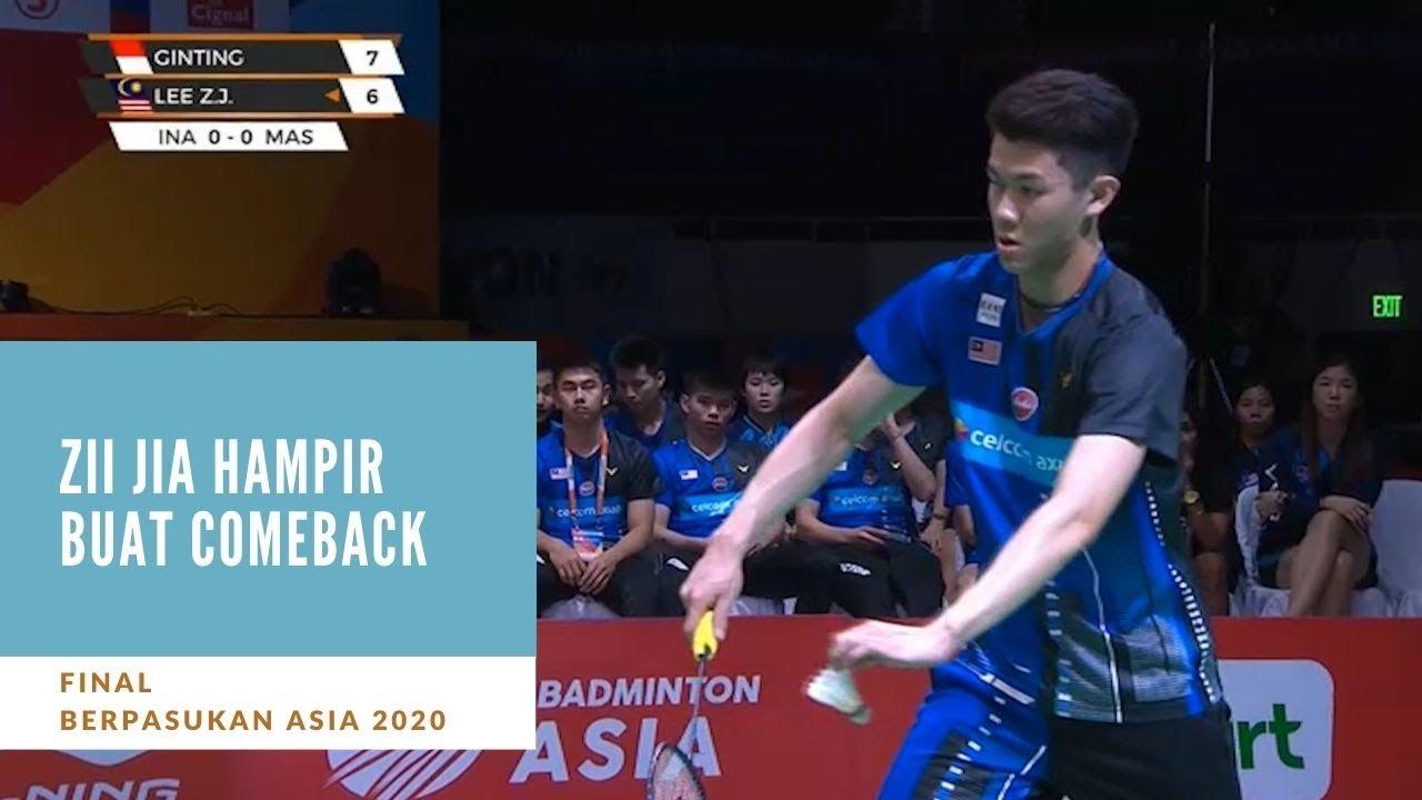 Berpasukan Asia 2020 Zii Jia Tunduk Kepada Ginting Astro Arena Youtube