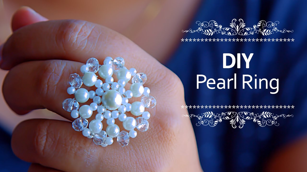 5b0e91bbc Beautiful Pearl ring | How to make pearl ring at home | DIY | Beads art