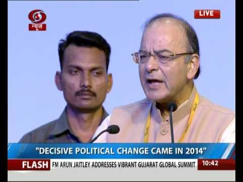 FM Arun Jaitley addresses 8th Vibrant Gujarat Global Summit in Gandhinagar
