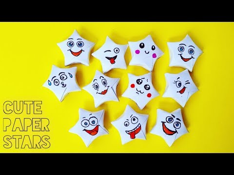 Traditional Origami Lucky Star | Easy and funny emoji faces on paper stars