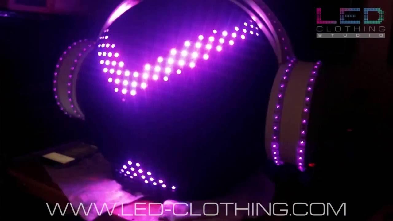Pixel Dj Led Helmet With Headphones Youtube