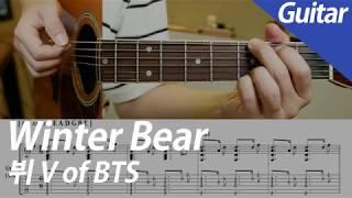 뷔 V of BTS - Winter Bear   기타 커버 악보 코드 MR Instrumental 노래방