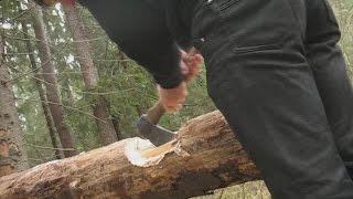 Работа колунообразным плотницким топором(Рубка чаши с шипом и продольного паза колунообразным плотницким топором от кузницы Топорсиб., 2015-11-12T16:47:51.000Z)