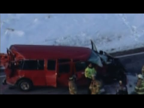 Raw: Minn. Truck-Van Crash Hurts Adult, 7 Kids